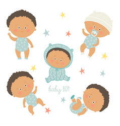 African baby set african american toddler boys vector