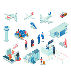 airport icons on white background vector image