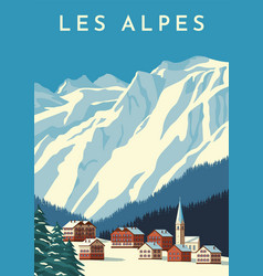 Alps travel retro poster vintage banner mountain vector