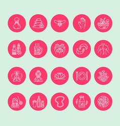 Alternative medicine line icons naturopathy vector