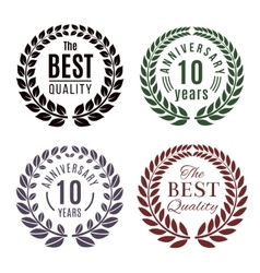 Anniversary and premium quality laurel wreath vector image