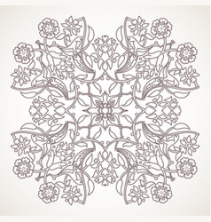 Arabesque vintage outline floral decoration print vector