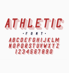 athletic font varsity and college alphabet vector image