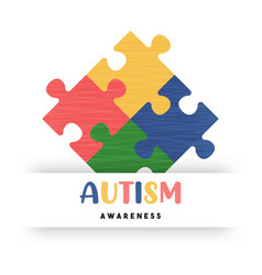 autism awareness day colorful puzzle game card vector image