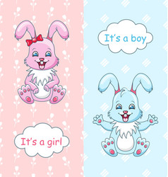 baby shower congratulation card with rabbits boy vector image