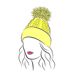 beautiful young woman in yellow knitted hat with vector image