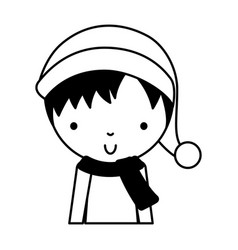 Black icon cute little boy vector