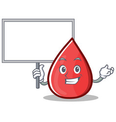 Bring board blood drop cartoon mascot character vector