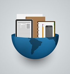 Business planet earth with office supplies vector