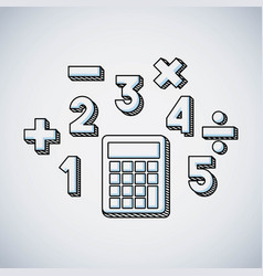 calculator math education line icon vector image
