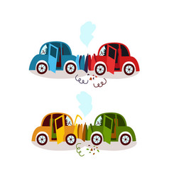 Car accident head on and rear end collision set vector