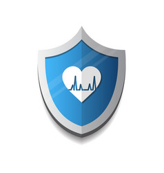 Cardiology protection heart shield icon blue vector