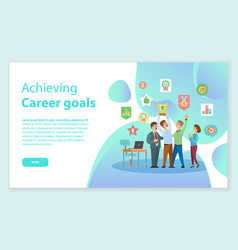 Career goals web win of work team award vector