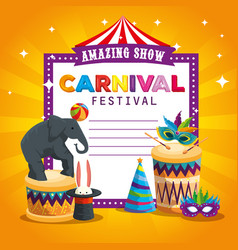 Carnival card and elephant playing with ball and vector