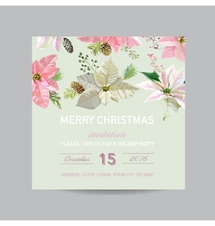 Christmas Invitation Card - in Watercolor Style vector image