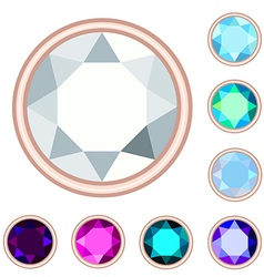Circle gemstone set vector