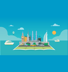 City on map around sea with boat and sky vector