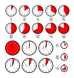 Clock set - time icons collection isolated vector