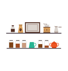 coffee and grinder turk and sugar cafe shelves vector image