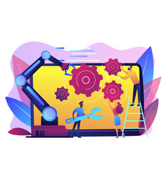 Collaborative robotics concept vector