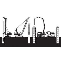 Construction machinery make foundations of a build vector