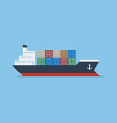 container ship in flat style vector image
