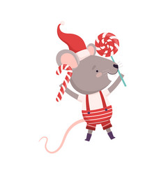 Cute mouse holding candy cane and lollipop cute vector