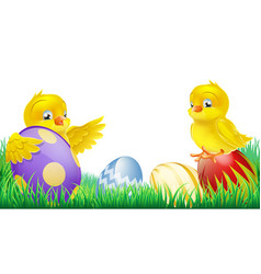 cute yellow chicks and easter eggs vector image