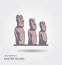 easter island statues icon vector image