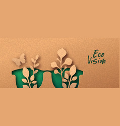 Eco vision or green view 3d papercut banner vector