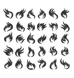 fire flame icon set vector image