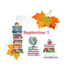 First september flat poster vector