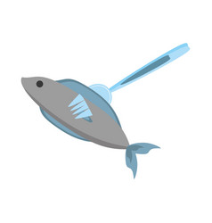 Fish fork food picnic vector