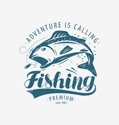 fishing emblem fishery label lettering vector image
