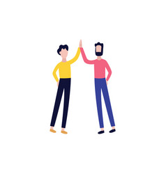 flat men giving high five gesture vector image