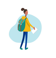Flat of walking girl with vector