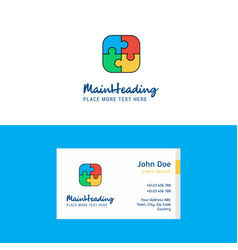 flat puzzle game logo and visiting card template vector image