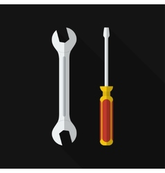 Flat screwdriver wrench with long shadow vector image