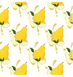 Fresh yellow pear seamless pattern bright summer vector