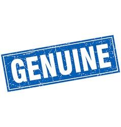 Genuine blue square grunge stamp on white vector