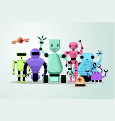 group cartoon robots on white background vector image