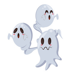 Halloween ghosts floating characters icon vector