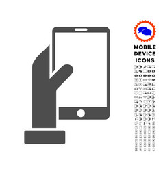 Hand holds smartphone icon with set vector