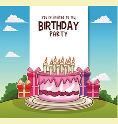 Happy birthday card invitation vector