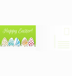 happy easter card cartoon holiday colored eggs vector image
