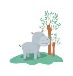 hippopotamus cartoon in forest next to the trees vector image
