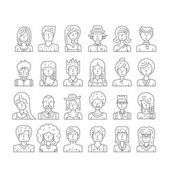 hipster people faces vector image