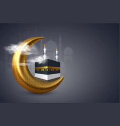 Holy kaaba with mosque and crescent in clouds vector