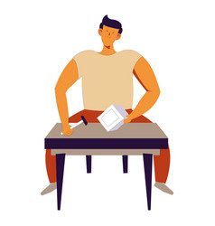 home repairing man sitting by table working with vector image