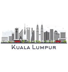 Kuala lumpur malaysia city skyline with gray vector